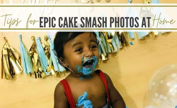 baby boy having fun at his diy cake smash