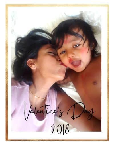 baby celebrating valentine's day with photoshoot
