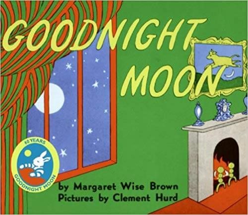 book cover of good night moon. shows window with moon outside and a room