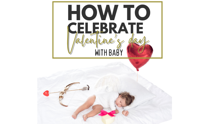 baby celebrating valentine's day with cupids bow and heart balloon