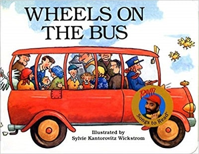 wheels on the bus book cover with red bus full of people