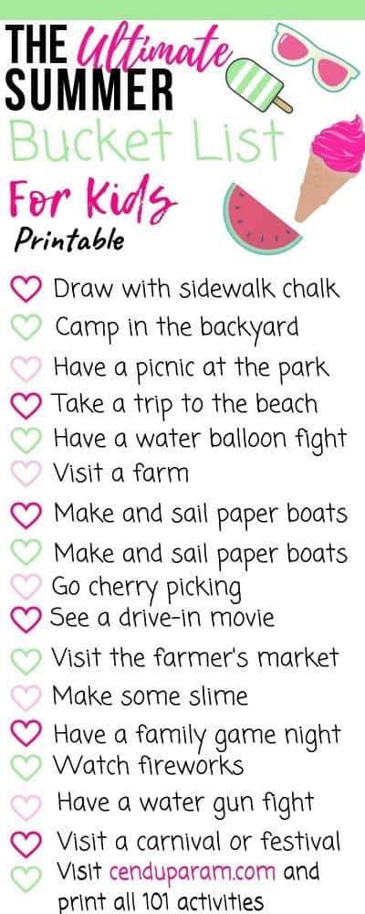 summer bucket list printable for kids