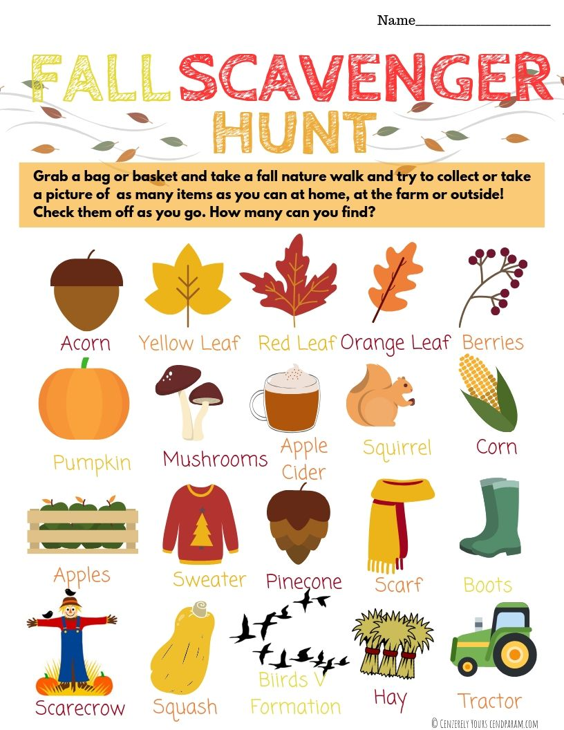 Fall Scavengar Hunt for kids