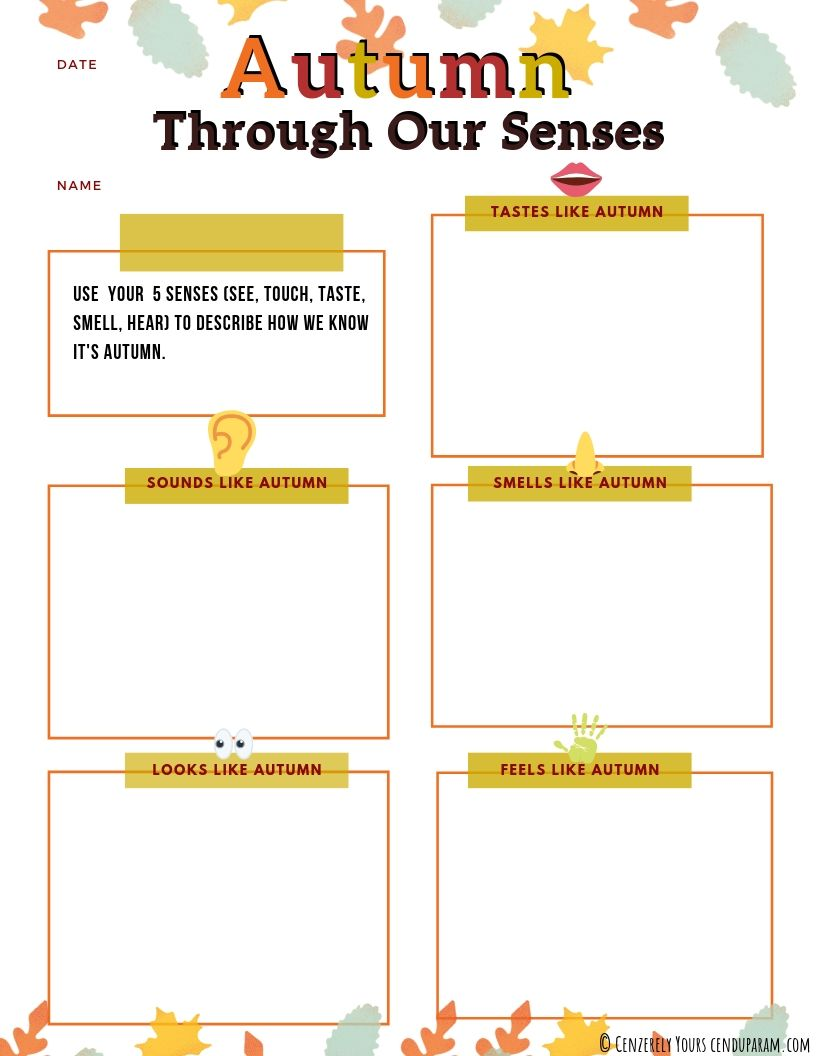 worksheet using our 5 senses to talk about fall season