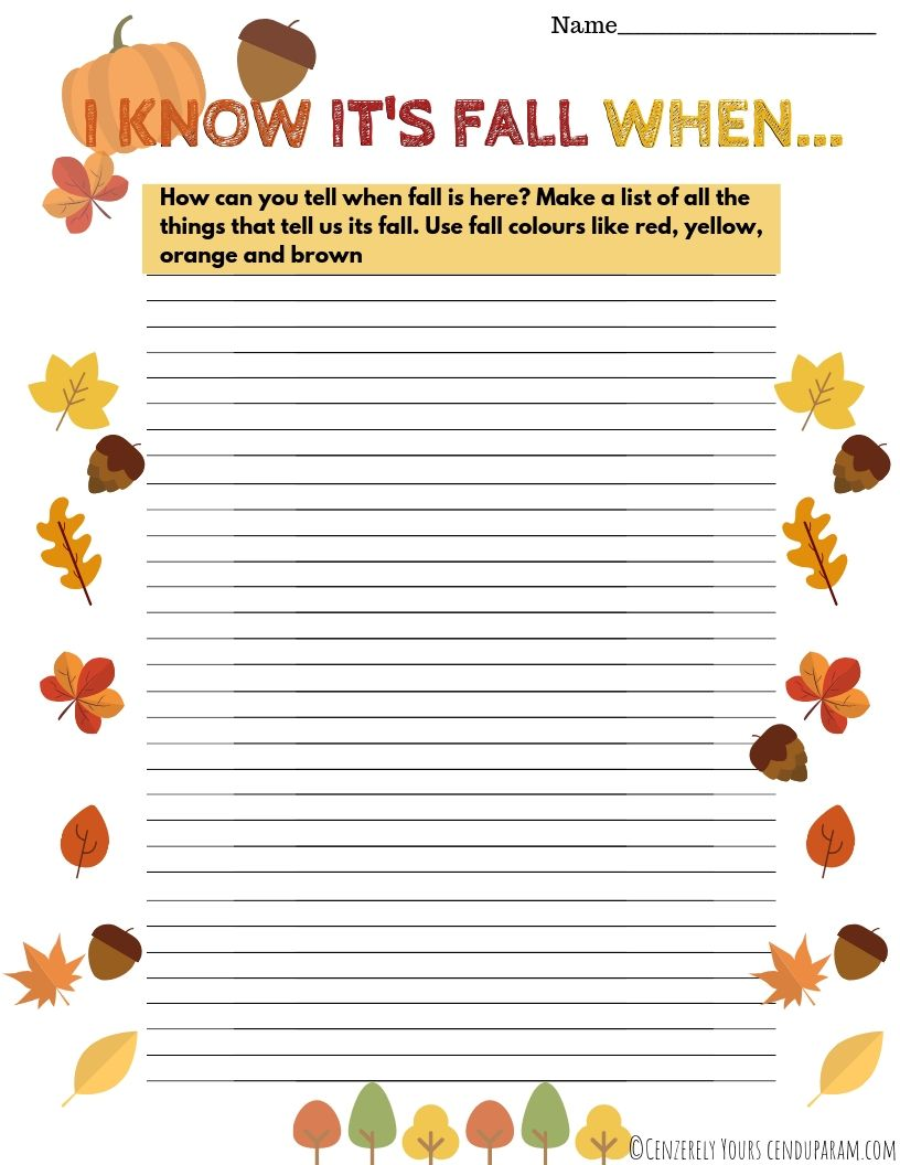 Fall list activity I know it's fall when