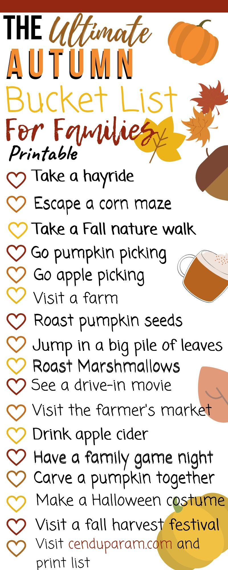The ultimate autumn bucket list for the whole family like pumpkin picking, roasting pumpkin sees and watching leaves change color.