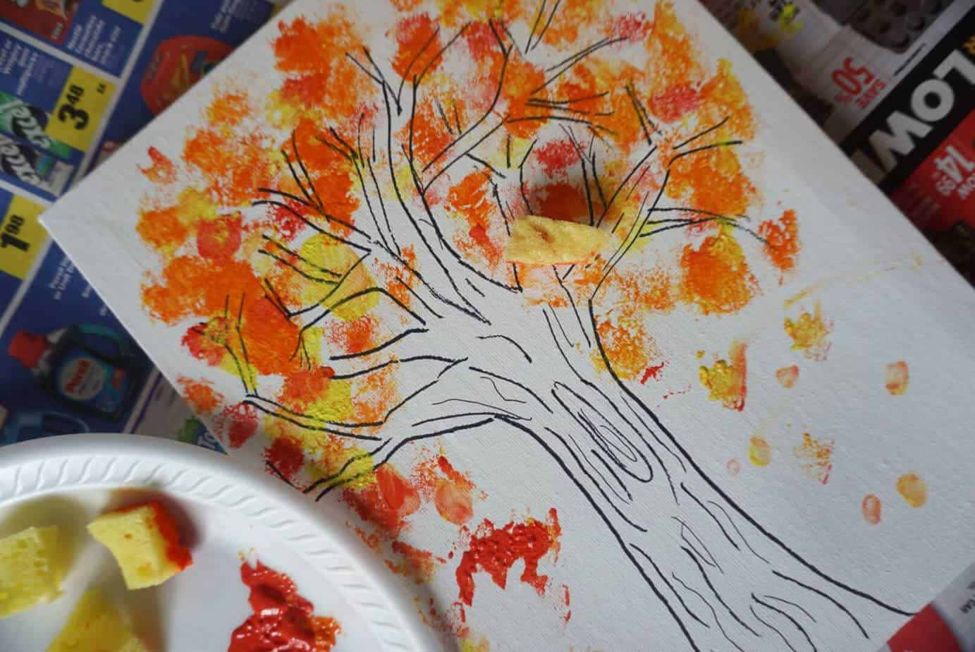 autumn tree painting craft for kids