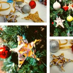 Christmas tree with home-made star ornaments