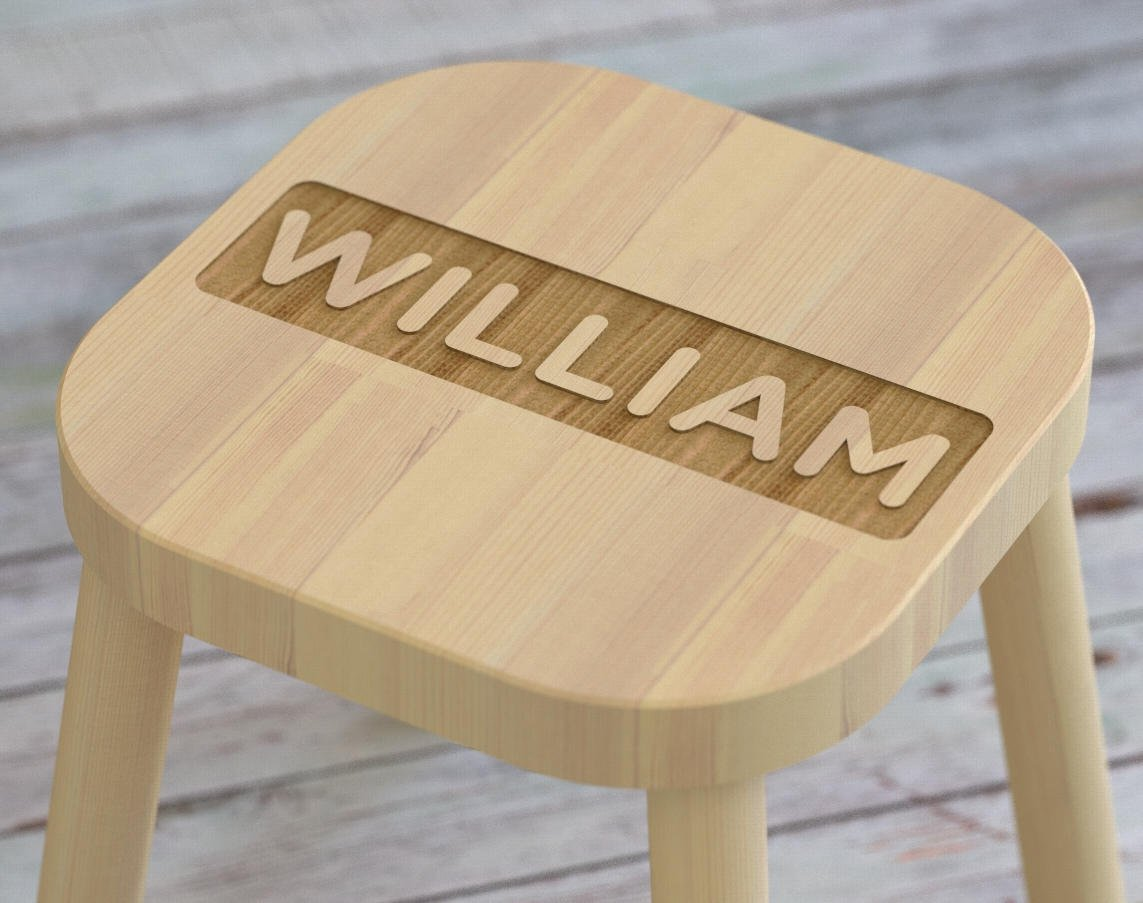 stool with personalized name