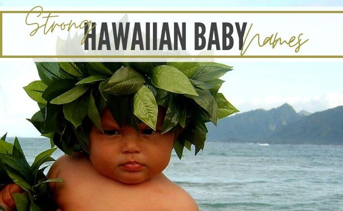 Hawaiian baby boy with leaf crown