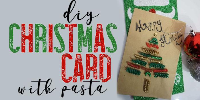easy diy Christmas cards made with macaroni