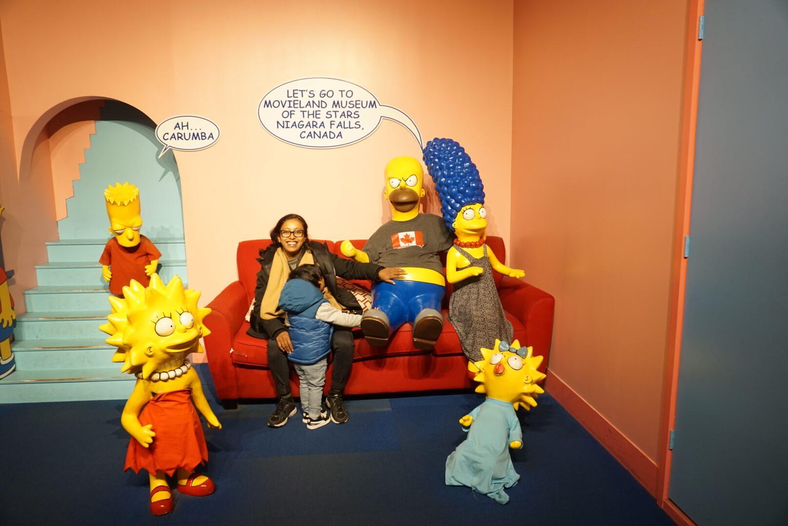 Family visiting movieland wax museum Niagara Falls.
