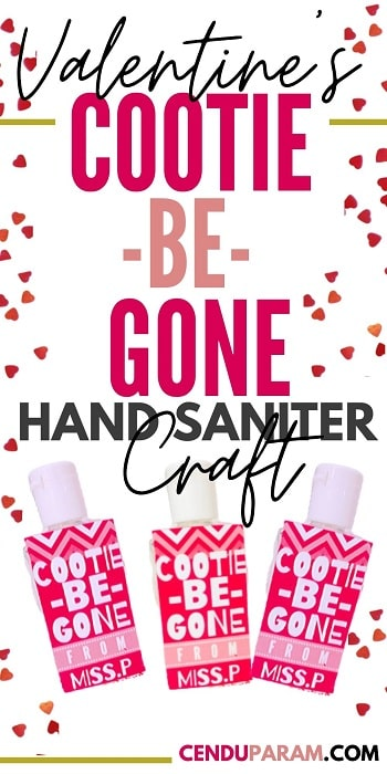 Valentines Craft cootie cleaner hand sanitizer label templates free download