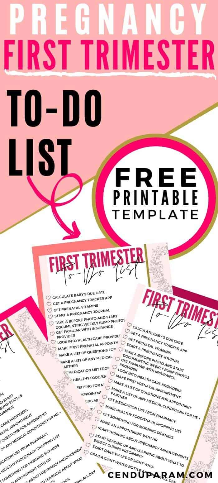 Free Printable Pregnancy to do list