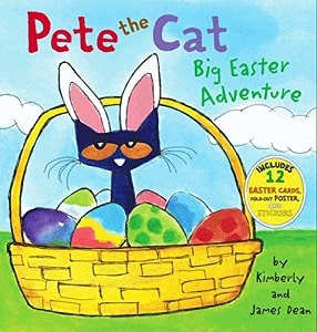 Pete The Cat Big Easter Adventure Book Cover with Easter Cat in a basket with Easter Eggs