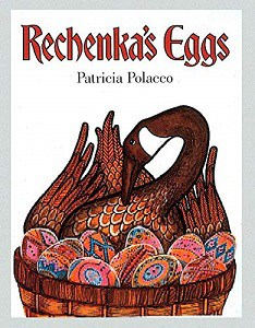 goose with Easter eggs. book cover for rechenka's eggs. Russian Easter book