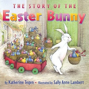 Easter bunny pulling wagon of Easter treats for children on this book cover
