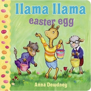 llama, sheep and goat looking for Easter eggs