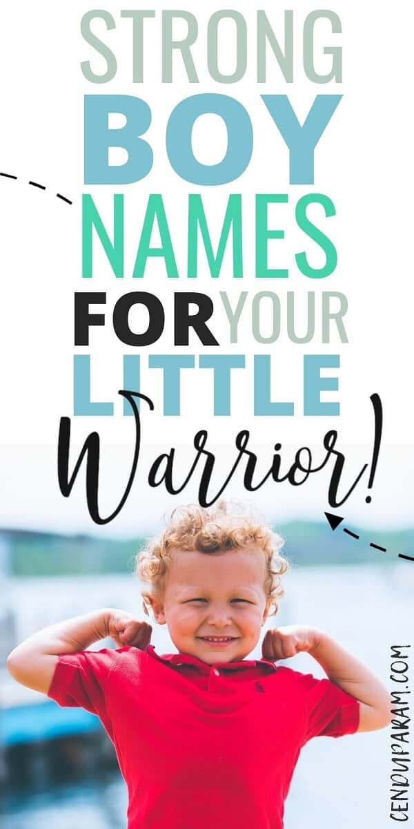 strong little warrior boy flexing his arms