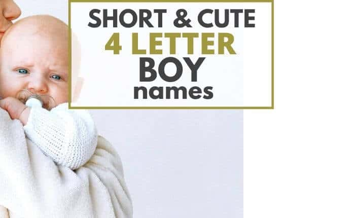 mom holding baby boy - title cover: short and cute 4 letter boy names