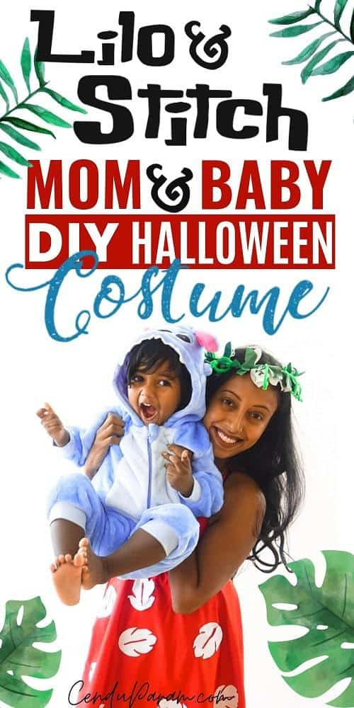 mom and son wearing diy Lilo and Stitch costumes