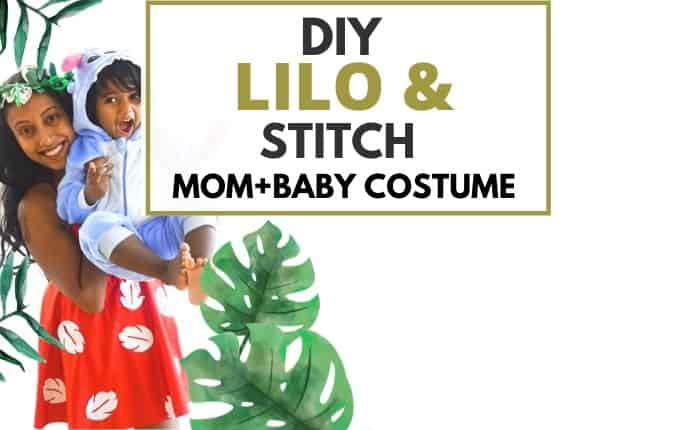 mom and baby dressed as Lilo and Stitch costumes