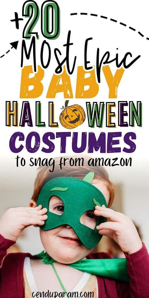 baby boy wearing cute Halloween costume with green mask