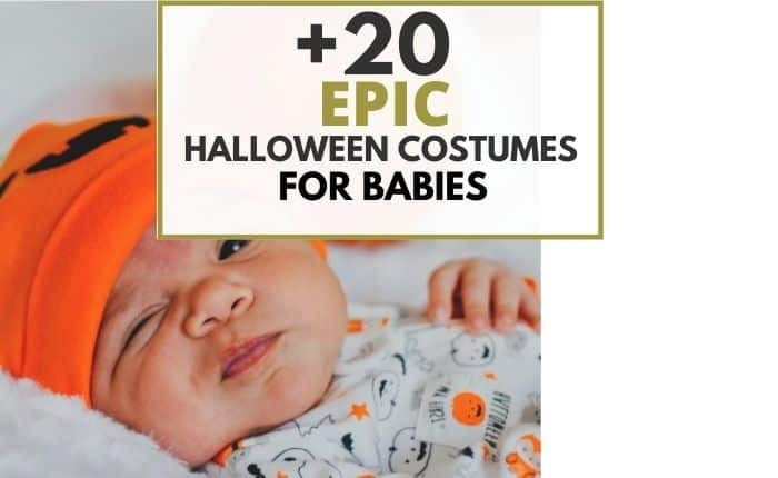 infant wearing halloween costume with pumpkins