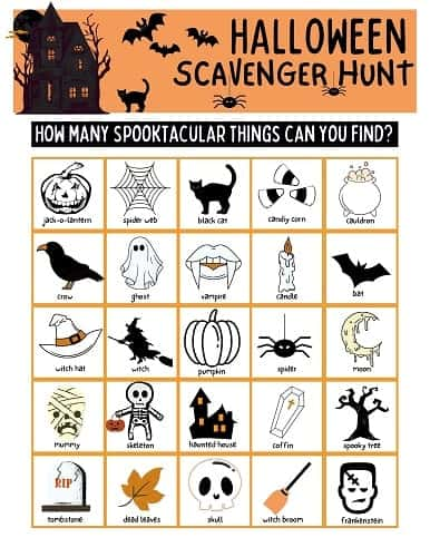 PRINTABLE PDF HALLOWEEN SCAVENGER HUNT FOR KIDS
