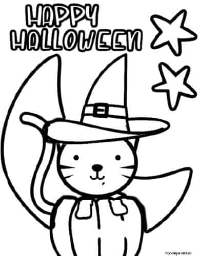 Free printable Halloween cat coloring page pdf. cute halloween cat wearing a witch hat with a crescent moon behind it.