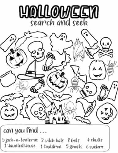 Halloween I spy worksheet free printable pdf