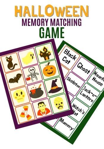 printable Halloween matching game for kids