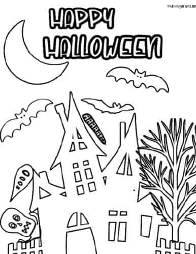halloween haunted house coloring page printable pdf free for kids and teachers
