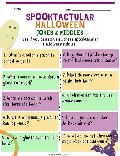 free printable halloween jokes and halloween riddles for kids