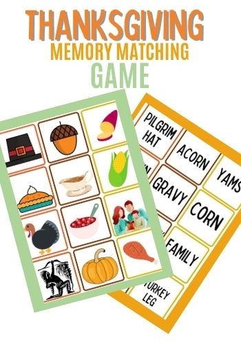 Free Printable Thanksgiving memory matching game for kids