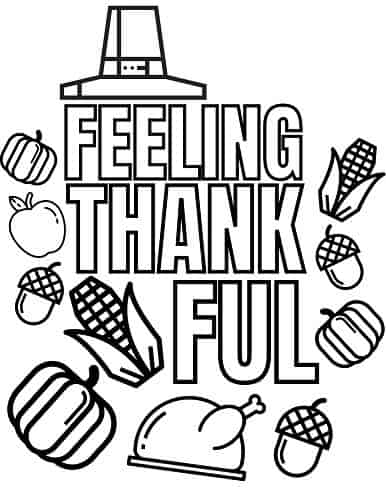 Thanksgiving gratitude coloring page pdf for kids