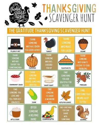 free Thanksgiving scavenger hunt pdf