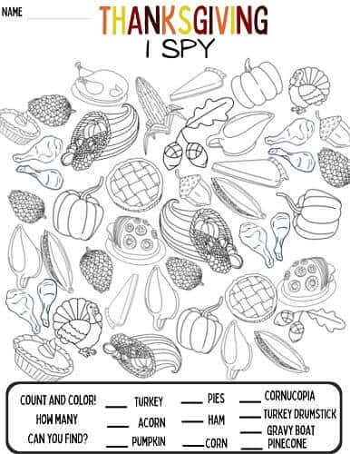 Thanksgiving I Spy activity pdf for kids
