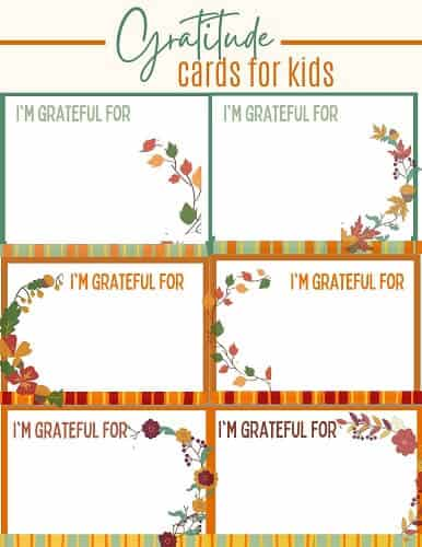 FREE printable Thanksgiving gratitude cards