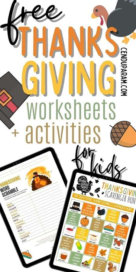 free thanksgiving worksheets pdf for children