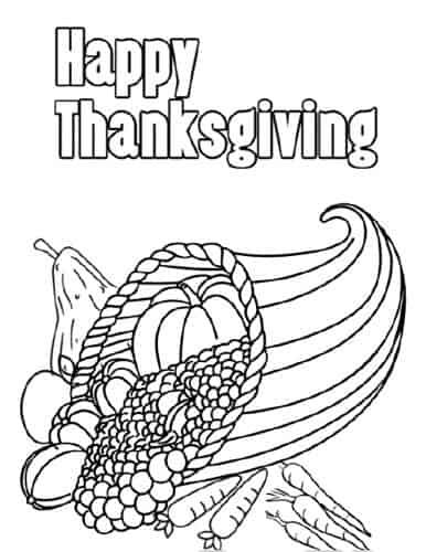 free thanksgiving cornucopia coloring page