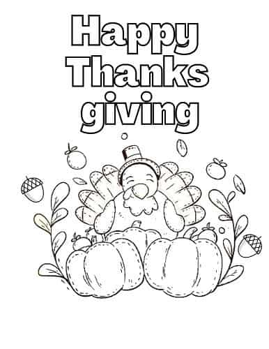 Thanksgiving turkey coloring page pdf
