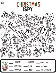 Free Christmas I SPY coloring page for kids
