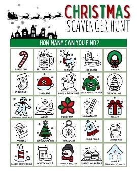 free Christmas Scavenger Hunt for kids