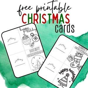 free printable Christmas cards to color for kids