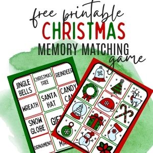 free Christmas memory matching game for kids