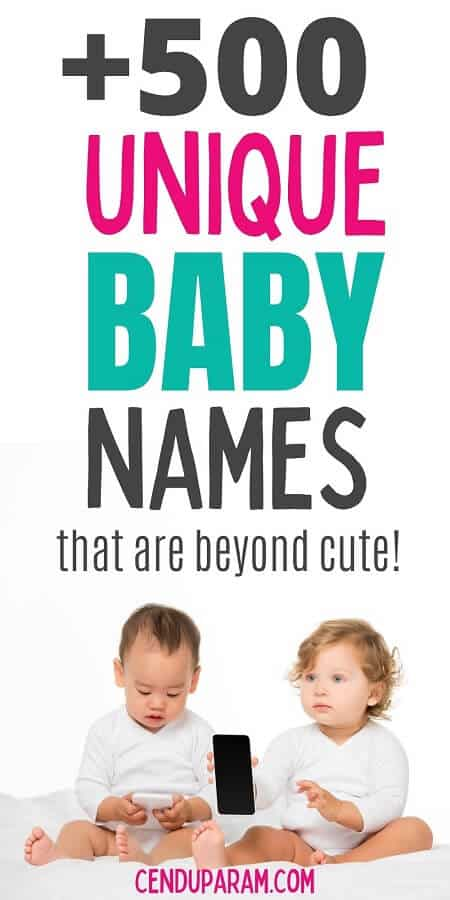 2 babies sitting together and playing with phone. caption of unique baby names by themes.