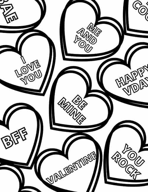 candy hearts Valentine's day coloring page free