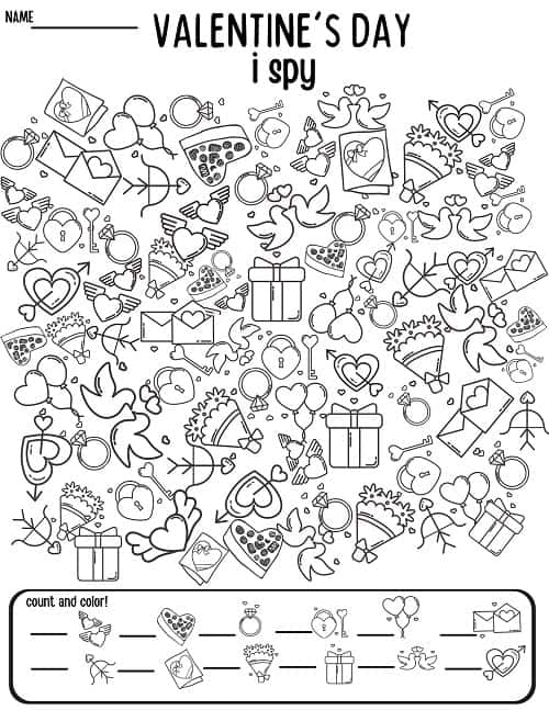 free printable valentine's day i spy worksheet black and white