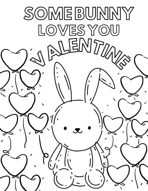 bunny Valentine's day coloring pages